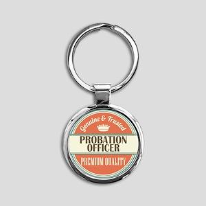 probation officer vintage logo Round Keychain
