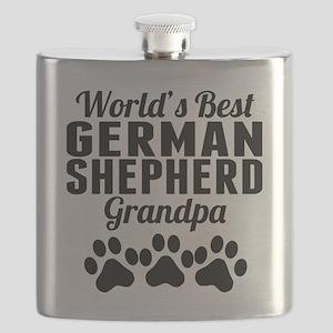 World's Best German Shepherd Grandpa Flask
