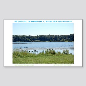 WATCHING GEESE ON WAMPUM LAKE Sticker (Rectangular
