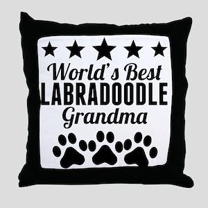 World's Best Labradoodle Grandma Throw Pillow
