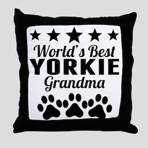 World's Best Yorkie Grandma Throw Pillow