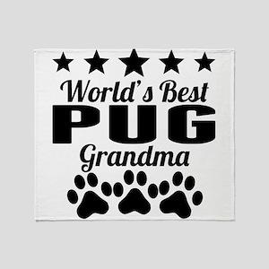 World's Best Pug Grandma Throw Blanket