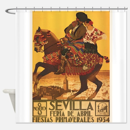 Sevilla, Spain; Vintage Travel Poster Shower Curta
