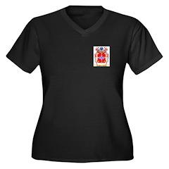 Navarrete Women's Plus Size V-Neck Dark T-Shirt