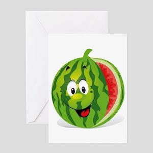 Cute Smiling Cartoon Watermelon Greeting Cards