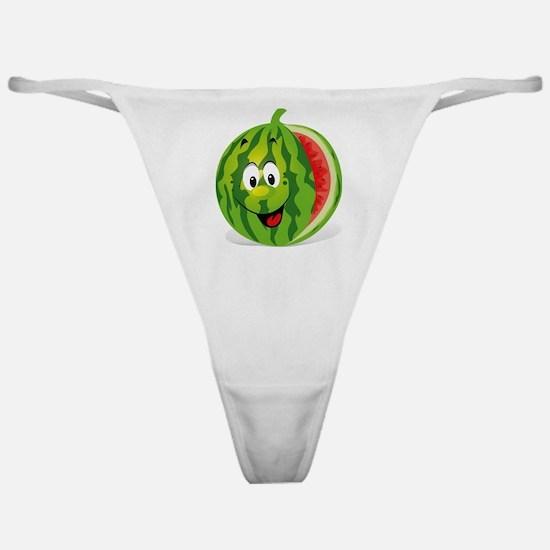 Cute Smiling Cartoon Watermelon Classic Thong