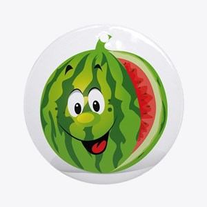 Cute Smiling Cartoon Watermelon Round Ornament