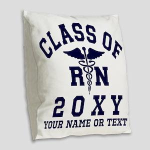 Class of 20?? Nursing (RN) Burlap Throw Pillow