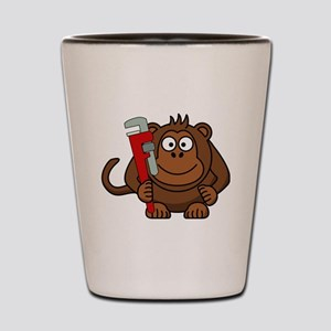 Cartoon Monkey With Wrench Shot Glass