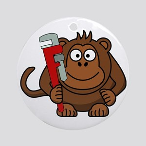 Cartoon Monkey With Wrench Round Ornament