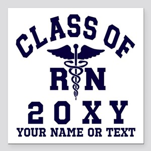 "Class of 20?? Nursing (RN) Square Car Magnet 3"" x"