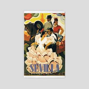 Sevilla, Spain; Vintage Travel Poster Area Rug