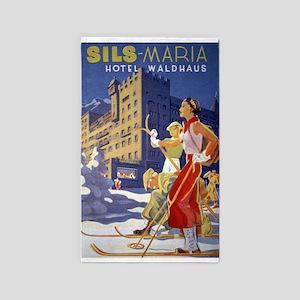 Vintage Ski Poster, Sils-Maria, Hotel Waldhaus Are
