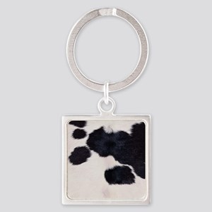 SPOTTED COW HIDE Square Keychain