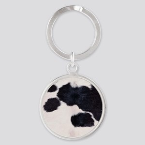 SPOTTED COW HIDE Round Keychain