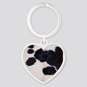 SPOTTED COW HIDE Heart Keychain