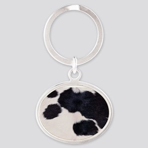 SPOTTED COW HIDE Oval Keychain