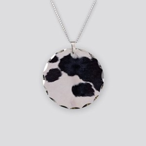 SPOTTED COW HIDE Necklace Circle Charm