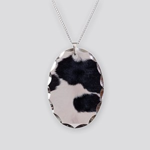 SPOTTED COW HIDE Necklace Oval Charm