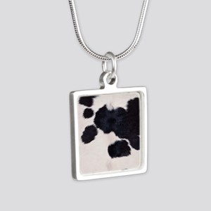 SPOTTED COW HIDE Silver Square Necklace