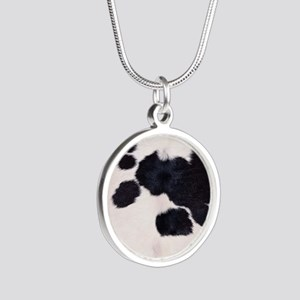 SPOTTED COW HIDE Silver Round Necklace