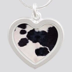 SPOTTED COW HIDE Silver Heart Necklace
