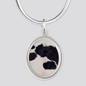 SPOTTED COW HIDE Silver Oval Necklace