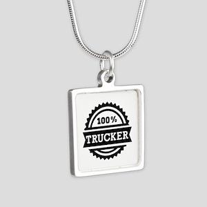 100% Trucker Silver Square Necklace