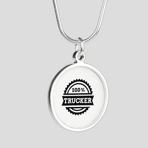 100% Trucker Silver Round Necklace
