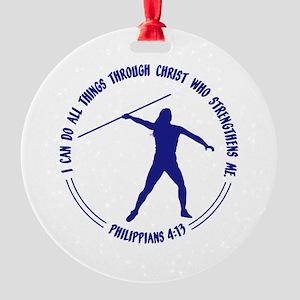 JAVELIN - Phil. 4:13 Round Ornament