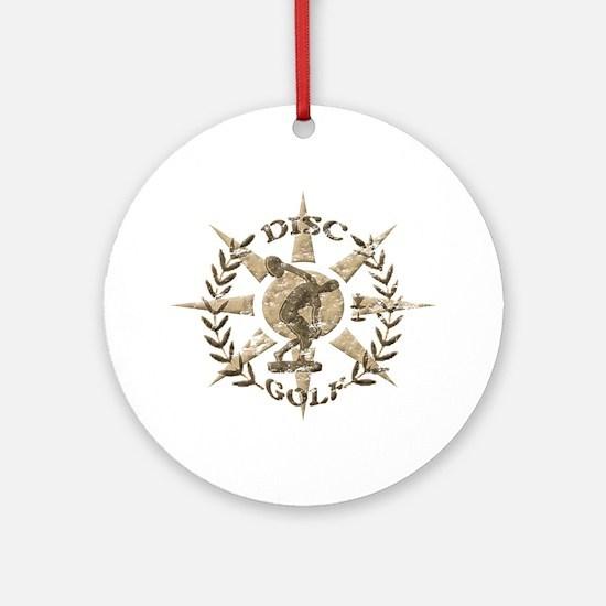 Disc Golf Discus Stone Glyph Origin Round Ornament