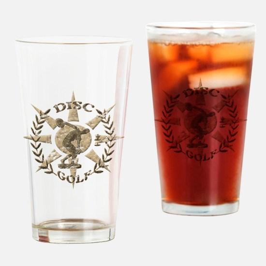 Disc Golf Discus Stone Glyph Origin Drinking Glass