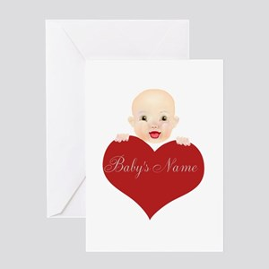 Baby's Name Heart to Personalize Greeting Card