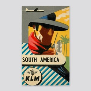 South America, Gaucho, Vintage Travel Pos Area Rug