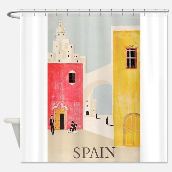 Spain Vintage Travel Poster Shower Curtain