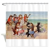 Beach cats Shower Curtains