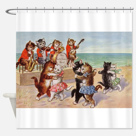 Cats Dancing at the Beach Vintage Poster Shower Cu