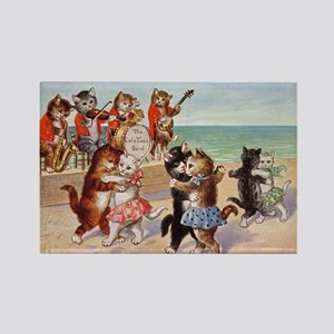 Cats Dancing at the Beach Vintage Poster Magnets