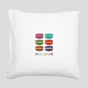 Colorful Macarons Square Canvas Pillow