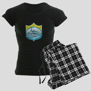 Blue Marlin Charter Fishing Boat Retro Pajamas