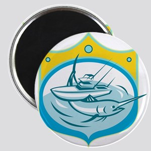 Blue Marlin Charter Fishing Boat Retro Magnets