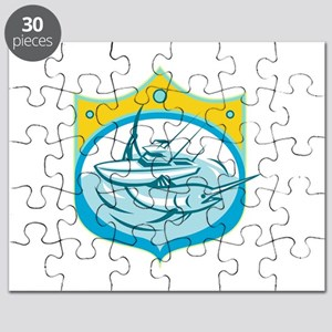 Blue Marlin Charter Fishing Boat Retro Puzzle