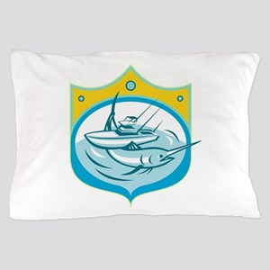 Blue Marlin Charter Fishing Boat Retro Pillow Case