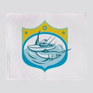 Blue Marlin Charter Fishing Boat Retro Throw Blank