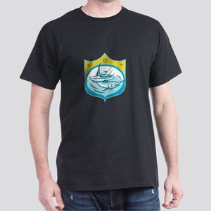 Blue Marlin Charter Fishing Boat Retro T-Shirt