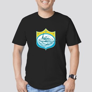 Blue Marlin Charter Fishing Boat Retro T-Shirt