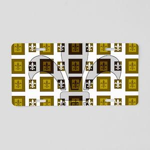 fletr de lis gold black sha Aluminum License Plate
