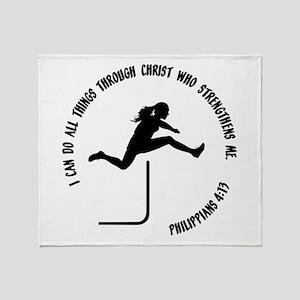 HURDLES - PHIL.4:13 Throw Blanket