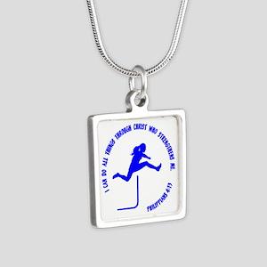HURDLES - PHIL.4:13 Silver Square Necklace
