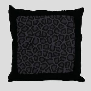 BLACK LEOPARD PRINT Throw Pillow